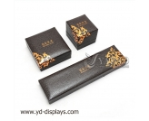 Brown lizard grain leather jewelry box jewelry box