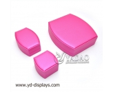 Shaped pink leather jewelry box